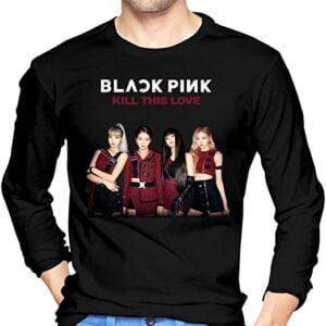 Blackpink Album Kill This Love T Shirt Men Fashion Casual Graphics Crewneck Long Sleeve Winter Tee Tops Black T Shirt min