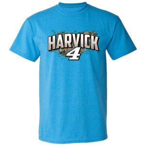 Mens Kevin Harvick Stewart Haas Racing Team Collection Light Blue Busch Light Camo Car T Shirt 2021 min
