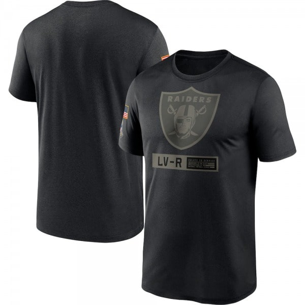 Mens Las Vegas Raiders Black 2021 Salute to Service Team Logo Performance T Shirt min