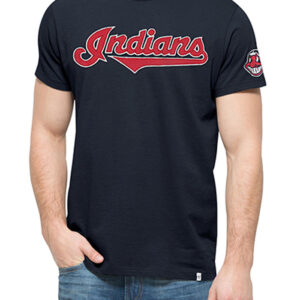 47 Cleveland Indians Navy Blue Fieldhouse Short Sleeve Fashion Essential Women and Mens T Shirt min