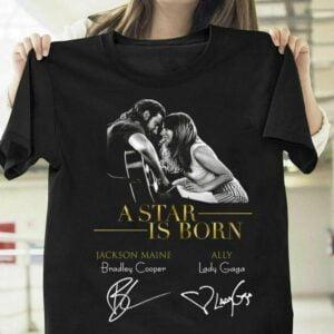 A Star Is Born Bradley Cooper As Jackson Maine With Lady Gaga Hoodies Short Sleeve Tee Shirt min