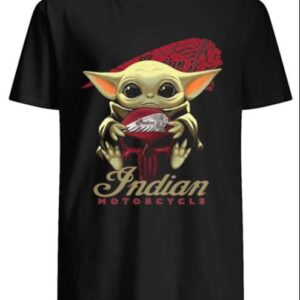 Baby Yoda Hug Indian Motorcycle Unisex T Shirt 1
