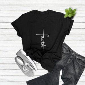 Faith Cross Christian Themed Classic T Shirt min