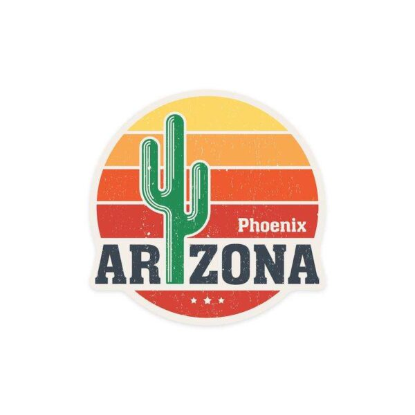 Phoenix Arizona Sun Vector Cactus Decorative Sticker