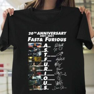 20th Anniversary 2001 2021 Fast Furious Signatures T Shirt