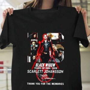 16 Years of Black Widow 2004 2020 Scarlett Johansson Signature T Shirt