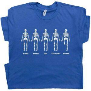 Black White Gay Straight Pirate T Shirt Funny Gay LGBT Skeleton