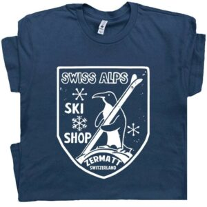 Ski Swiss Alps T Shirt Cool Vintage Skiing
