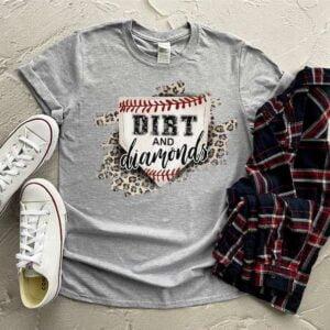 Dirt And Diamonds Baseball Mom Leopard Shirt
