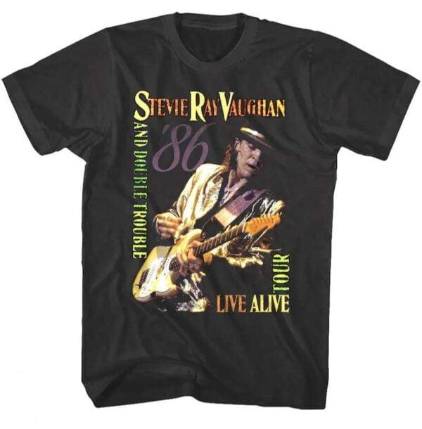 Stevie Ray Vaughan Double Trouble Live Alive Tour 1986 Vintage T Shirt
