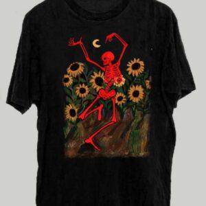 Dacing Skeleton In Sunflowers Unisex T Shirt