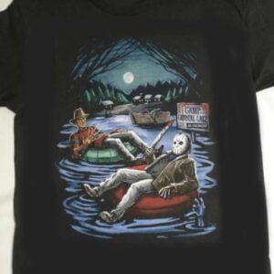 Freddy Krueger And Jason Voorhees In Inner Tube Camp Crystal Lake Horror T Shirt