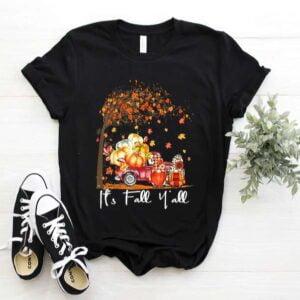 Its Fall Yall Cute Gnomes Pumpkin Truck Autumn Tree Fall Unisex T Shirt