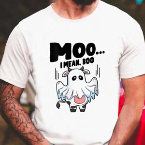 Moo I Mean Boo Halloween Ghost Cow Shirt