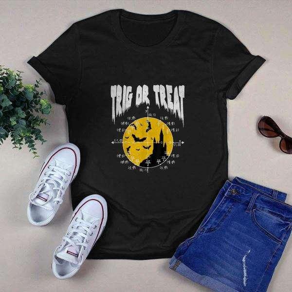 Nerdy Trig or Treat Halloween Math Teacher Shirt